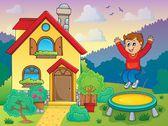 Boy playing near house theme 1 — Stock Vector