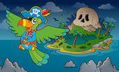 Theme with pirate skull island 4 — Stok Vektör