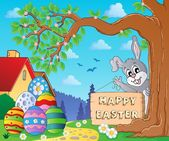 Image with Easter bunny and sign 9 — Stockvektor