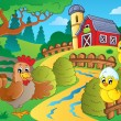 Farm theme with hen and chickens — Stock Vector #47361765