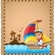 Parchment with sailor in boat 1 — Stock Vector #47365699