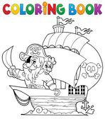 Coloring book ship with pirate 1 — Stockvector