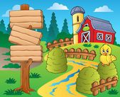 Farm theme with red barn 1 — Vector de stock