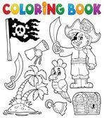 Coloring book pirate thematics 1 — Stock Vector