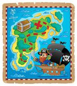 Pirate map theme image 1 — Stock Vector