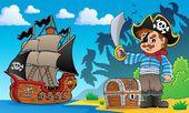 Pirate on coast theme 1 — Stock Vector