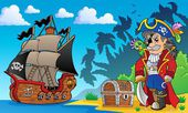 Pirate on coast theme 3 — Stock Vector