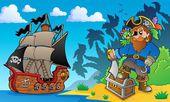 Pirate on coast theme 2 — Stock Vector