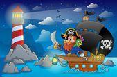 Pirate ship theme image 5 — Stock Vector