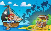 Pirat-tema med skattkista 3 — Stockvektor