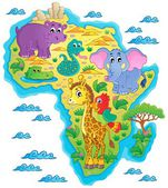 Africa map theme image 1 — Stock Vector