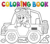 Coloring book car traveller theme 1 — Stock Vector