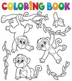 Coloring book monkey theme 1 — Stock Vector