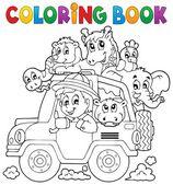 Coloring book car traveller theme 2 — Stock Vector