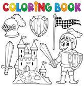 Coloring book knight theme 1 — Stock Vector