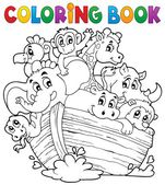 Coloring book Noahs ark theme 1 — Stock Vector