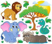 Cute African animals collection 2 — Stock Vector