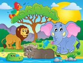 Cute African animals theme image 9 — Stock Vector