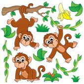 Monkey theme collection 1 — Stock Vector