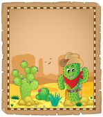Parchment with cactus theme 1 — Vettoriale Stock