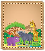 Parchment with African animals 3 — Stock Vector