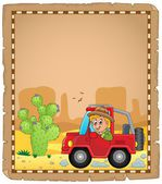 Parchment with car and traveller 4 — Stock Vector