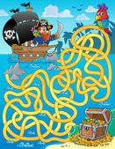 Maze 1 with pirate and treasure — Stock Vector