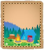 Parchment with campsite theme 1 — Stock Vector
