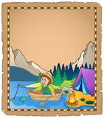 Parchment with fisherman 2 — Stock Vector