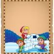 Parchment with children and igloo — Stock Vector #48609859