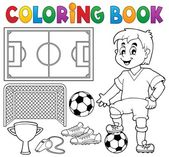 Coloring book soccer theme 1 — Vector de stock