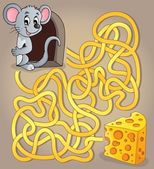 Maze 1 with mouse and cheese — Stock Vector