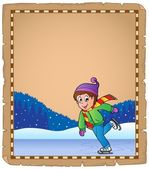 Parchment with boy skating on ice — Stock Vector