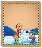 Parchment with children and igloo — Stock Vector