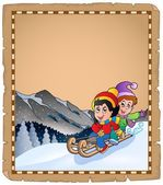 Parchment with children on sledge — Stock Vector