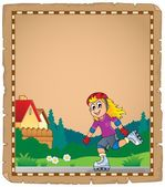 Parchment with roller skating girl — Vector de stock