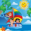 Summer theme with children on ship — Stock Vector #48610147