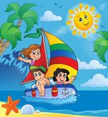 Summer theme with children on ship — Stock Vector