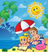 Summer theme with children on beach — Vector de stock