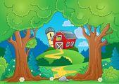 树主题与农场 1 — 图库矢量图片