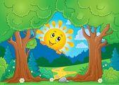 Tree theme with sun 2 — 图库矢量图片