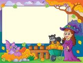 Autumn frame with Halloween theme 1 — Stock Vector