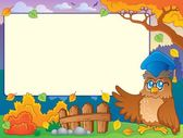 Autumn frame with owl teacher 2 — Stock Vector