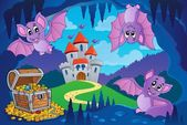 Bats in fairy tale cave — Vecteur