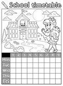 Coloring book school timetable 6 — Stock vektor