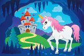 Cute unicorn in fairy tale cave — Vecteur