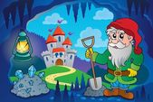 Dwarf in fairy tale cave — Stockvector