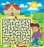 Maze 3 with schoolboy — Stock Vector