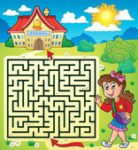 Maze 3 with schoolgirl — Stock Vector