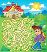 Maze 4 with schoolboy — Stock Vector